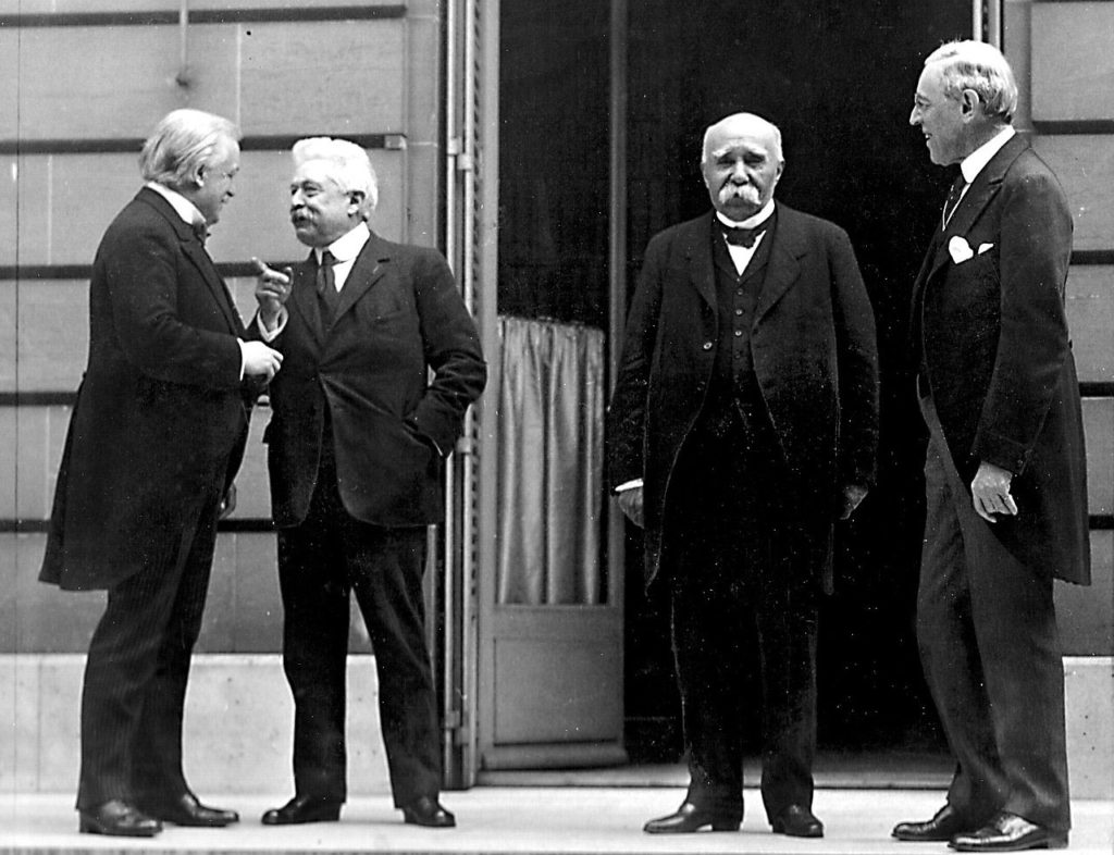 David Lloyd George, Vittorio Orlando, Georges Clemenceau and Woodrow Wilson at the Paris Peace Conference